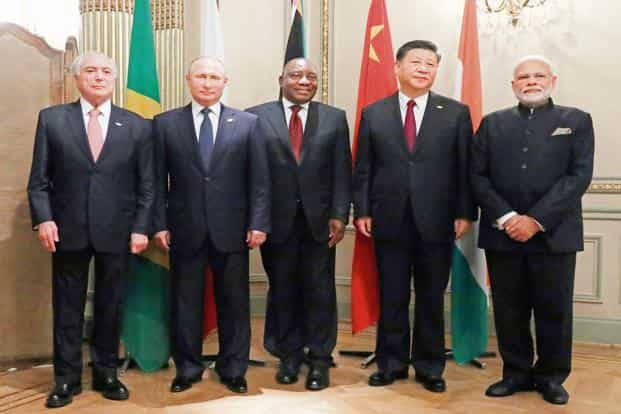 (From left) Brazil's Michel Temer, Russia's Vladimir Putin, South Africa's Cyril Ramaphosa, China's Xi Jinping and PM Narendra Modi at the G20 summit in Buenos Aires on Friday. AP