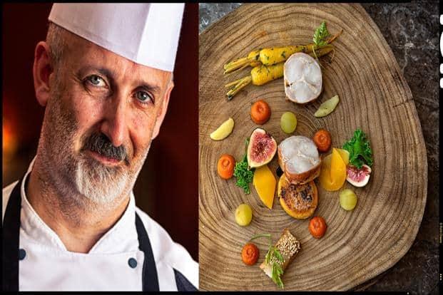 Chef Stefan Hogan and his signature dish, the Bahrija rabbit Assiette. Photo : Rohit Chawla