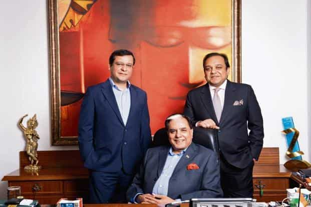 A file photo of Subhash Chandra (centre), chairman of Zee Entertainment Enterprises Ltd (ZEEL); Punit Goenka (right), MD and CEO of ZEEL; and Amit Goenka, CEO of ZEE5. Photo: India Today