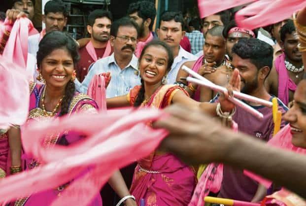 Supporters of Telangana Rasthtra Samathi (TRS) celebrate. Photo: AP