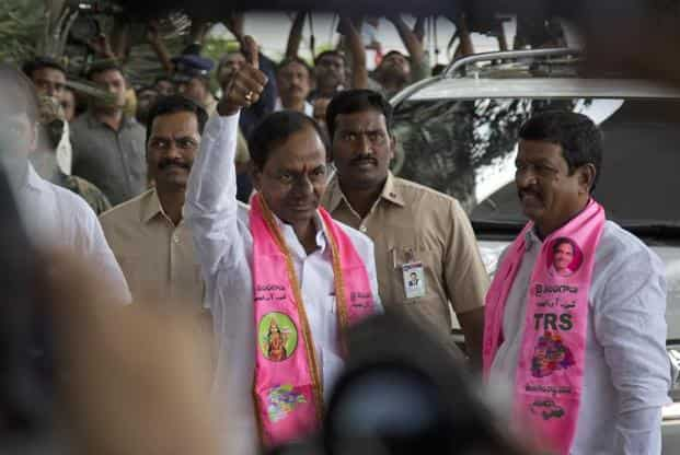 President and Chief Minister of the state K. Chandrashekar Rao arrives to address a press conference in Hyderabad, India.Photo:AP
