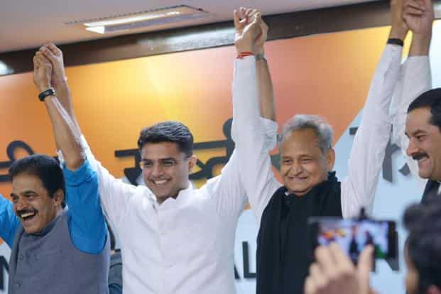 Rajasthan chief minister Ashok Gehlot (second from right) and deputy chief minister Sachin Pilot (third from right) in Delhi on Friday. Photo: Ramesh Pathania/Mint