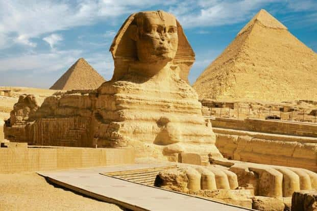 Among the monuments she visited were the famous Sphinx (above) and Khafre Valley Temple.