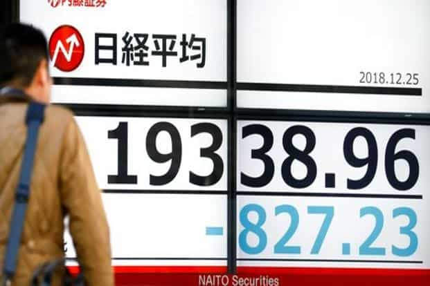 The Nikkei 225 fell 4.2 percent to 19,310.90 in Tokyo as of 10 a.m. Tuesday, the first time the blue-chip stock gauge has traded below 20,000 since September 2017. Photo: AP