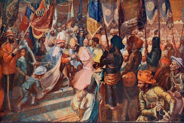 A painting by Sydney P. Hall of Ram Singh II being presented with the Order of the Star of India by the then prince of Wales in Calcutta in 1876. Photo: Alamy