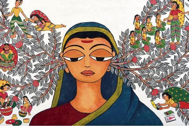 A painting in the Madhubani style by Delhi-based artist Malvika Raj, titled 'Mai', celebrating the life of Savitribai Phule. Photo: Malvika Raj