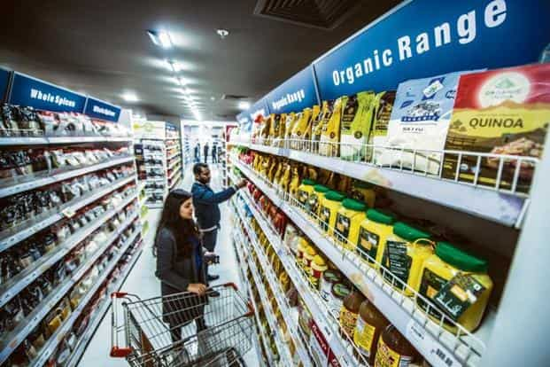 The groceries section with organic items at a retail outlet. Photo: Pradeep Gaur/Mint