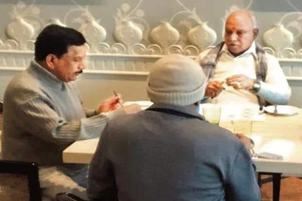 Karnataka BJP chief Yeddyurappa along with BJP MLAs at a hotel in Gurugram.  Courtesy: Twitter@srivatsayb