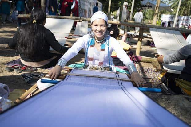 Naga women demonstrating weaving at the fifth International Loinloom Festival.