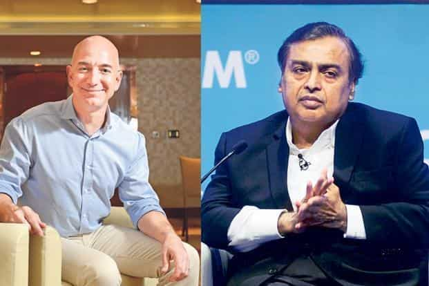 Amazon's Jeff Bezos and RIL's Mukesh Ambani. Reliance plans to consolidate merchants under an online-to-offline e-commerce platform, quite unlike the marketplace model of Flipkart, Amazon and Paytm Mall.