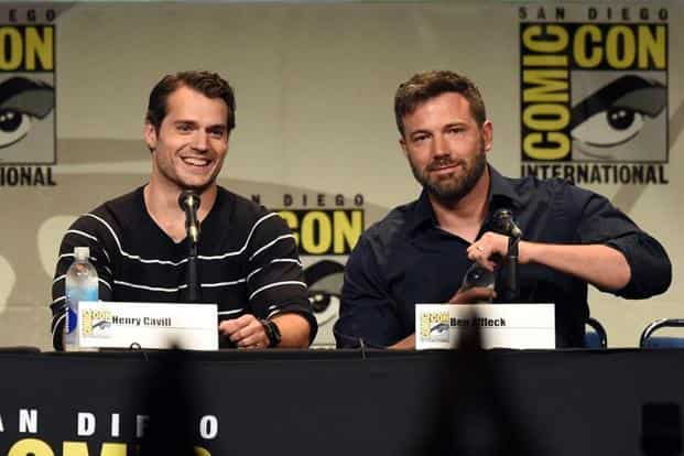 But it was Batman v Superman: Dawn of Justice's trailer that got a standing ovation. Actors Henry Cavill (left) who plays Superman and Ben Affleck, who will take over the role of Batman from Christian Bale attend the Warner Bros. presentation during Comic-Con. AFP