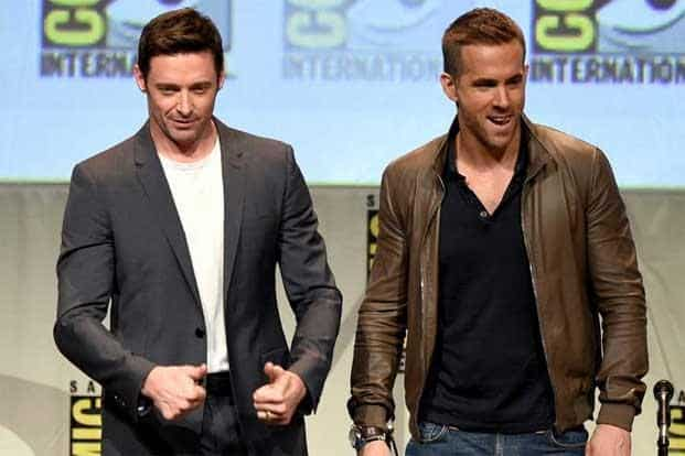 """There was a line of film stars at the Comic-Con. Hugh Jackman (Left) and Ryan Reynolds appeared onstage for the promotion of Reynolds' upcoming superhero film """"Deadpool"""". AFP"""