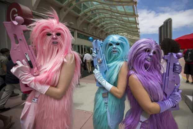It's Star Wars time! Fans of Star Wars dress up as characters from the films. The epic space opera franchise has been the centre of attention at the convention for many years.